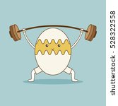 egg lifts barbell on green... | Shutterstock .eps vector #528322558