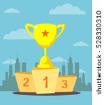 trophy cup  prize goblet on... | Shutterstock .eps vector #528330310