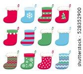 colorful christmas socks set... | Shutterstock .eps vector #528352900