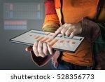 hand touching modern tablet... | Shutterstock . vector #528356773