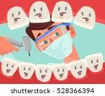 dentist character looking into... | Shutterstock .eps vector #528366394