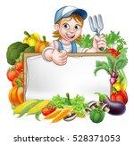 a cartoon woman gardener... | Shutterstock .eps vector #528371053