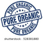 pure organic. stamp. blue round ... | Shutterstock .eps vector #528381880