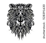 patterned head of the lion.... | Shutterstock .eps vector #528391630