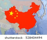 Map Of China With National Fla...