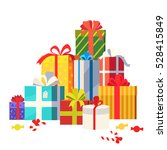 big pile of colorful wrapped... | Shutterstock .eps vector #528415849