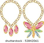 precious stones set in gold | Shutterstock .eps vector #52842061