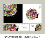 greeting card with art snail... | Shutterstock .eps vector #528424174