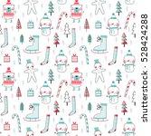 seamless vector christmas... | Shutterstock .eps vector #528424288