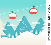 cable cars and snowy mountain... | Shutterstock .eps vector #528429373
