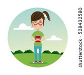 back school girl glasses... | Shutterstock .eps vector #528432580