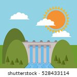 hydro electric power dam design | Shutterstock .eps vector #528433114