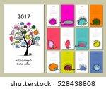 funny hedgehogs  calendar 2017... | Shutterstock .eps vector #528438808