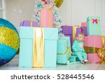 baby with christmas background. ... | Shutterstock . vector #528445546