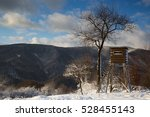 Winter Landscape, Wildlife, hunters high stand. Permanent wildlife photo hide. Beautiful winter, snowy wilderness.