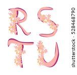 spring alphabet with flowers... | Shutterstock . vector #528468790