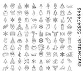 Christmas, New Year holidays icon big set. Thin line version. Xmas decoration with angel, tree, snowman, snowflake, star. Flat style collection. Vector illustration