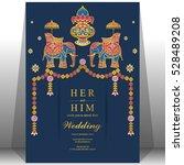 indian wedding card  elephant...   Shutterstock .eps vector #528489208