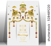 indian wedding card  elephant... | Shutterstock .eps vector #528489220