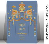 indian wedding card  elephant... | Shutterstock .eps vector #528489223
