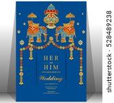 indian wedding card  elephant...   Shutterstock .eps vector #528489238