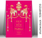 indian wedding card  elephant... | Shutterstock .eps vector #528489253