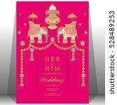 indian wedding card  elephant... | Shutterstock .eps vector #528489253