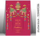 indian wedding card  elephant... | Shutterstock .eps vector #528489286