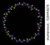 christmas luminous red garland. ... | Shutterstock .eps vector #528493678