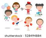 happy cartoon kids playing ...   Shutterstock .eps vector #528494884