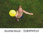 happy little girl of 8 9 years... | Shutterstock . vector #528494914