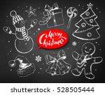 christmas chalked line art... | Shutterstock .eps vector #528505444