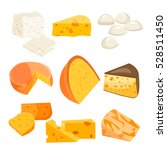 cheese types. modern flat style ... | Shutterstock .eps vector #528511450