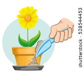 hand putting sand in the bowl... | Shutterstock .eps vector #528544453