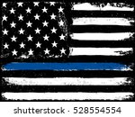thin blue line. black flag with ... | Shutterstock . vector #528554554
