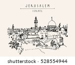 jerusalem  israel. city skyline.... | Shutterstock .eps vector #528554944