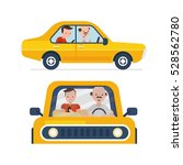 driver with car and passenger | Shutterstock .eps vector #528562780