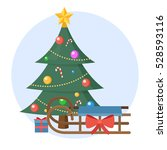 christmas tree with present and ... | Shutterstock .eps vector #528593116