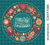 xmas wreath. greeting christmas ... | Shutterstock . vector #528597088