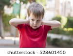 little caucasian boy in red... | Shutterstock . vector #528601450