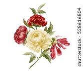 bouquet of vintage peonies.... | Shutterstock . vector #528616804