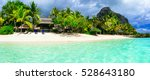 turquoise sea and white sandy... | Shutterstock . vector #528643180