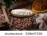 Cocoa Beans And Cocoa Pod With...