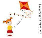girl launching kite   vector...   Shutterstock .eps vector #528685024