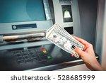 woman hand taking money dollar... | Shutterstock . vector #528685999