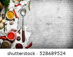 set of spices and herbs on an...