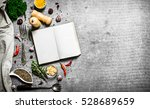 book of recipes. fresh spices... | Shutterstock . vector #528689659