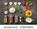 raw dough for pizza with... | Shutterstock . vector #528693820
