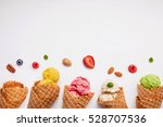 colorful  ice cream with cones... | Shutterstock . vector #528707536