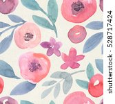seamless watercolor floral... | Shutterstock . vector #528717424